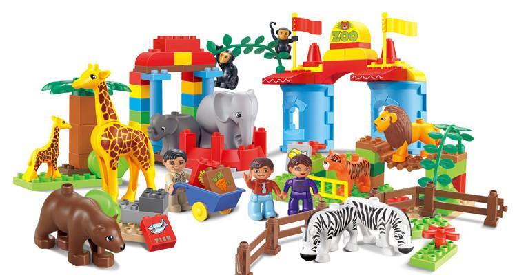 集鑫9912a颗粒积木娃娃乐园过家家玩具场景百变大动物儿童积木抓玩具html5游戏图片