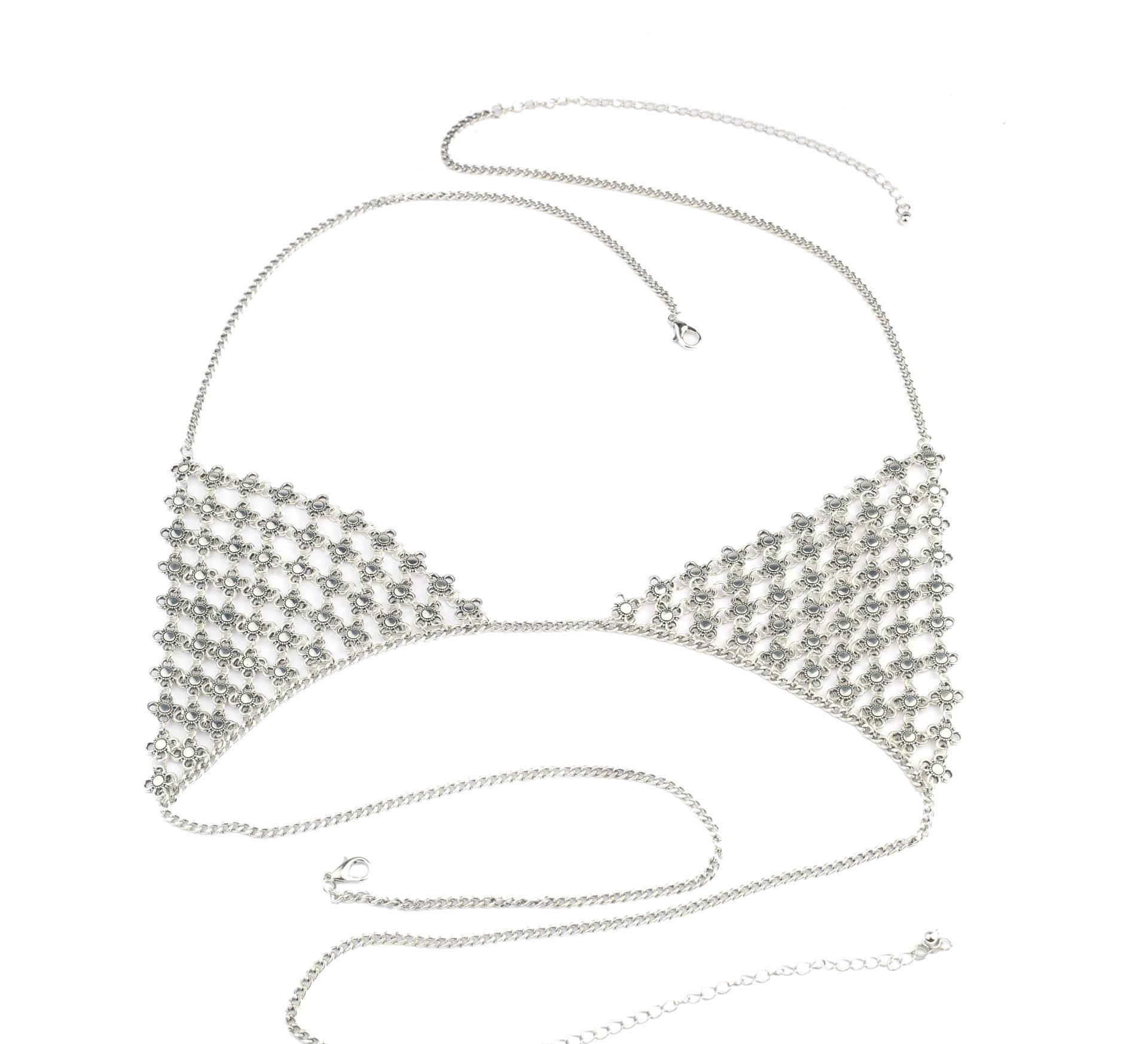 欧美手工饰品 复古夸张性感沙滩 瑜伽衣饰金属小花身体链