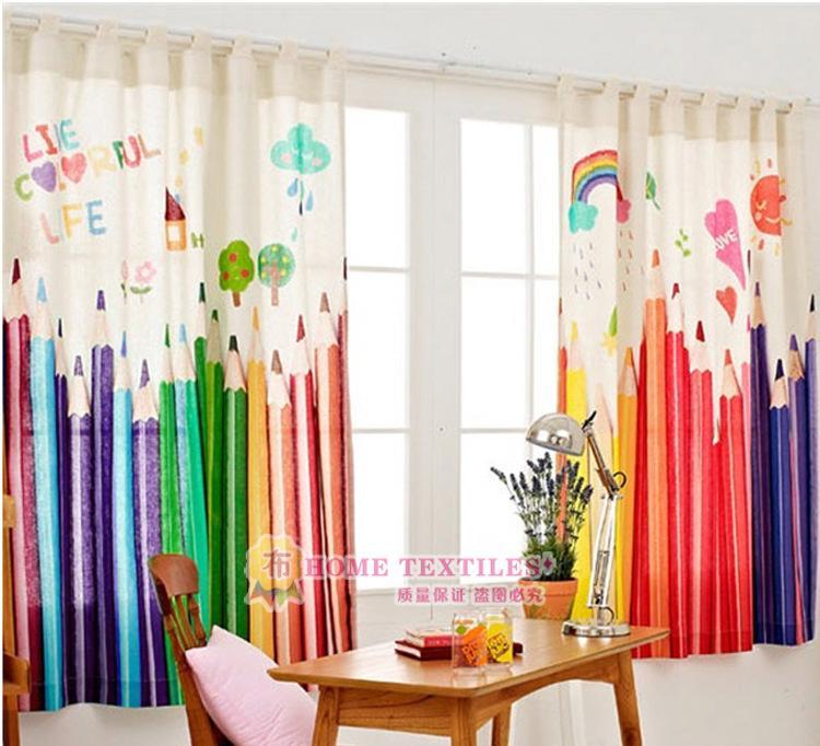 2016韩国风环保涤棉窗帘儿童卡通铅笔蜡笔窗帘可爱特色窗帘批发