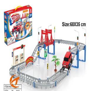 厂家直销儿童玩具小汽车电动轨道车创意模型玩具地摊热卖55件套