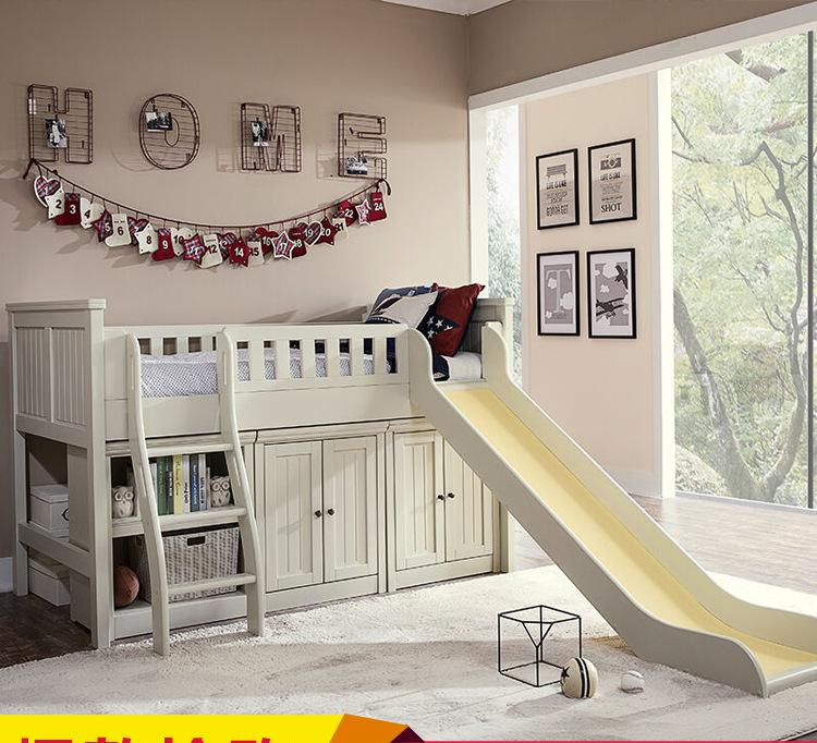 定制儿童床带护栏单人床带滑梯实木高架床松木储物衣柜书柜组合床
