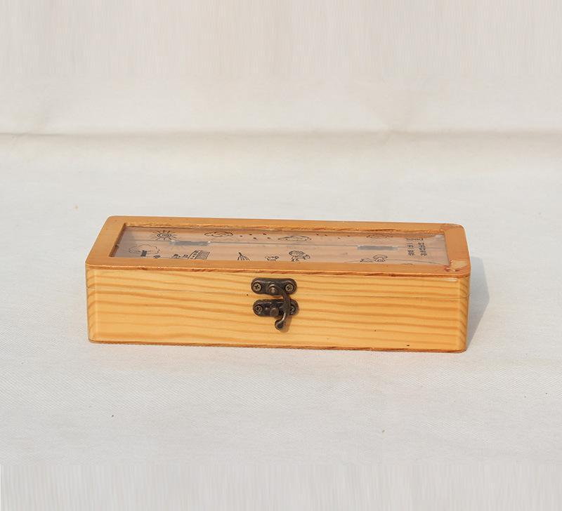 木质铅笔盒 儿童文具画画笔木盒 长方形木盒 玻璃盖永生花盒