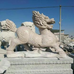 石雕麒麟 石雕动物雕 栩栩如生 精雕细琢