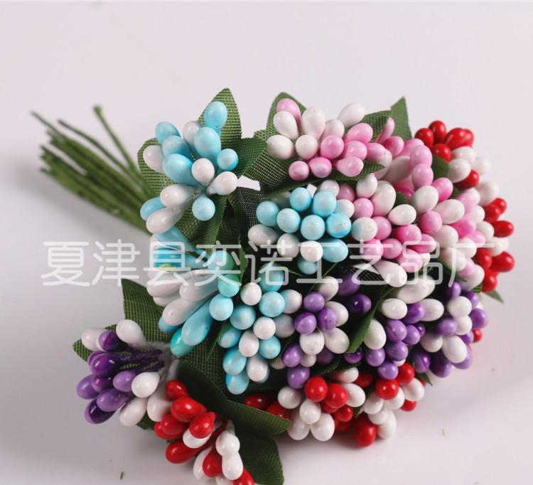 厂家直供花环材料手工编织配件 精美装饰婚庆有叶珠 石膏珠热销