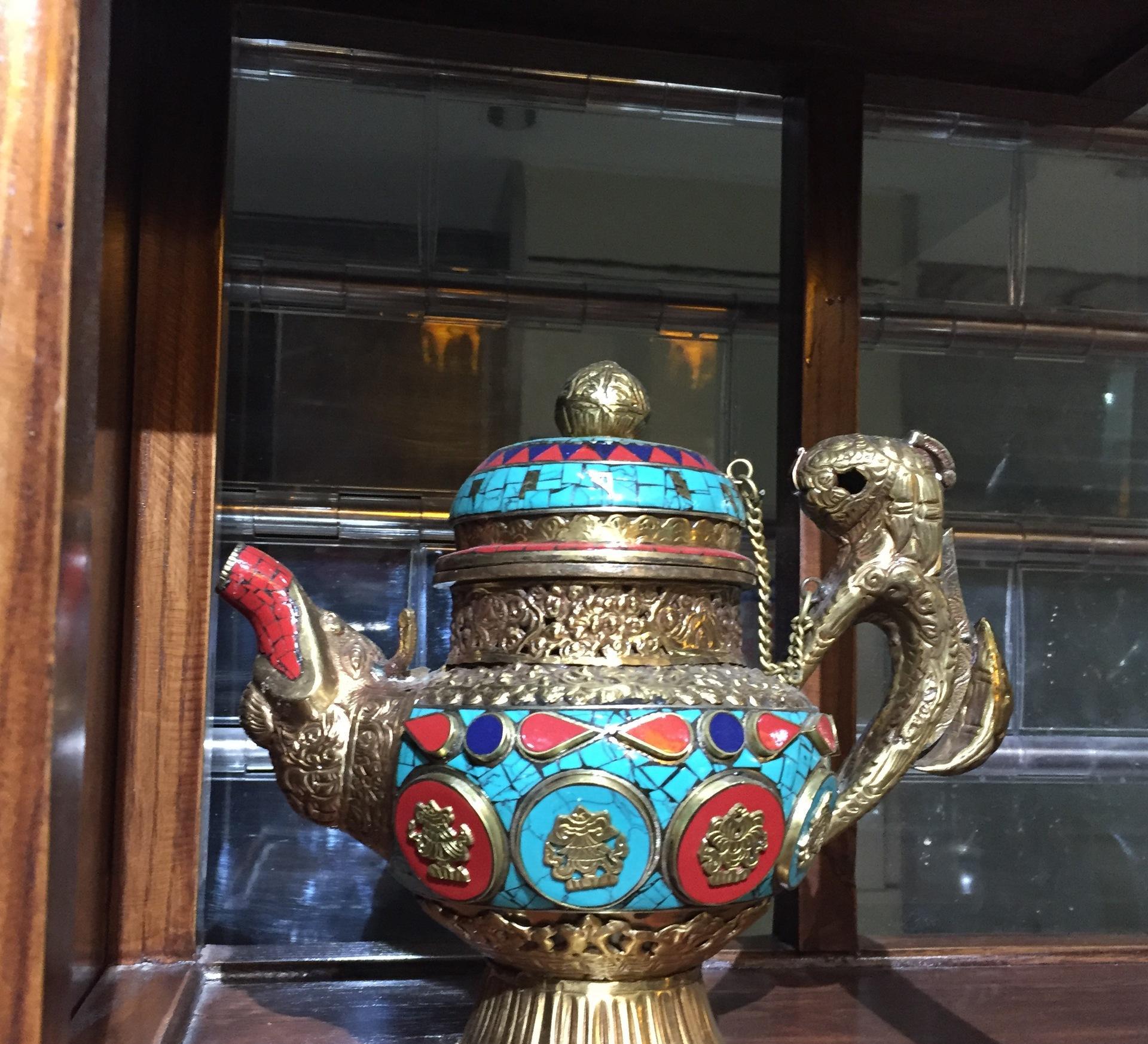 尼泊尔纯手工制作铜壶嵌绿松石工艺品摆件铜水壶