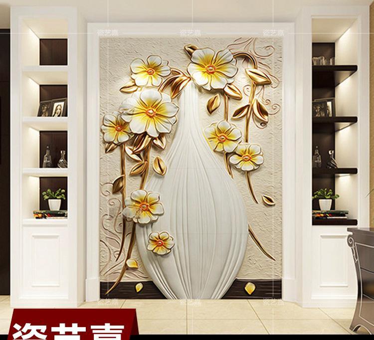 欧式玄关背景墙瓷砖 欧美花卉艺术壁画瓷砖背景墙 背景墙陶瓷花瓶