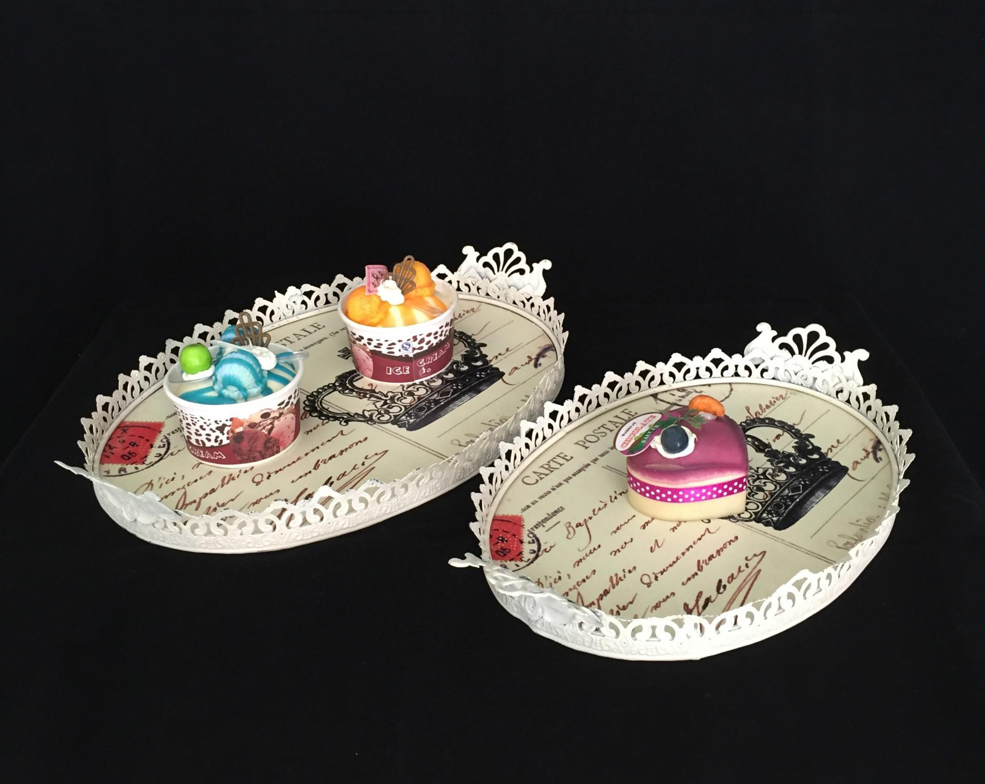 做旧米色铁艺蛋糕盘 椭圆形金属托盘 欧式家居装饰 套二果盘