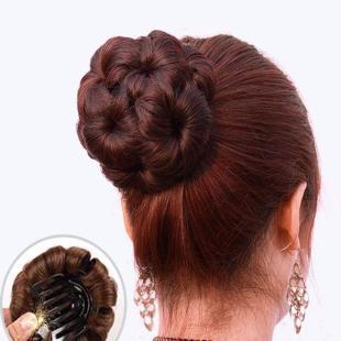 九朵花时尚假发丸子头发包盘头发圈头花发饰头饰卷发包逼真自然