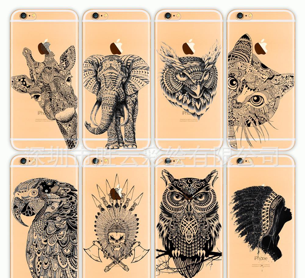 创意手机保护套素描动物苹果手机保护套新款手机硬壳彩绘手机壳