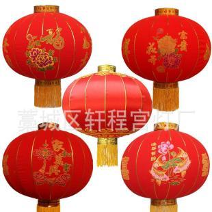 大红灯笼圆植绒布灯笼铁口绸缎元旦新年春节装饰广告灯笼厂家定做