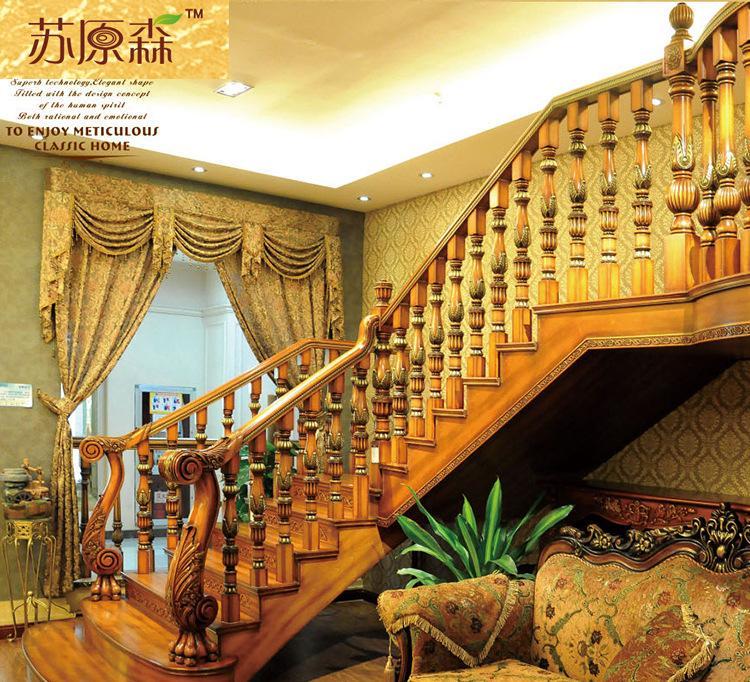 厂家直销可加工定制别墅整体实木楼梯欧式楼梯复式楼梯实木木楼梯