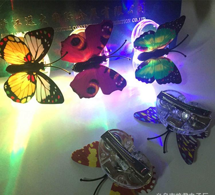 led发光蝴蝶发夹七彩发光卖萌发夹儿童炫彩发光头饰七彩光钎辫子