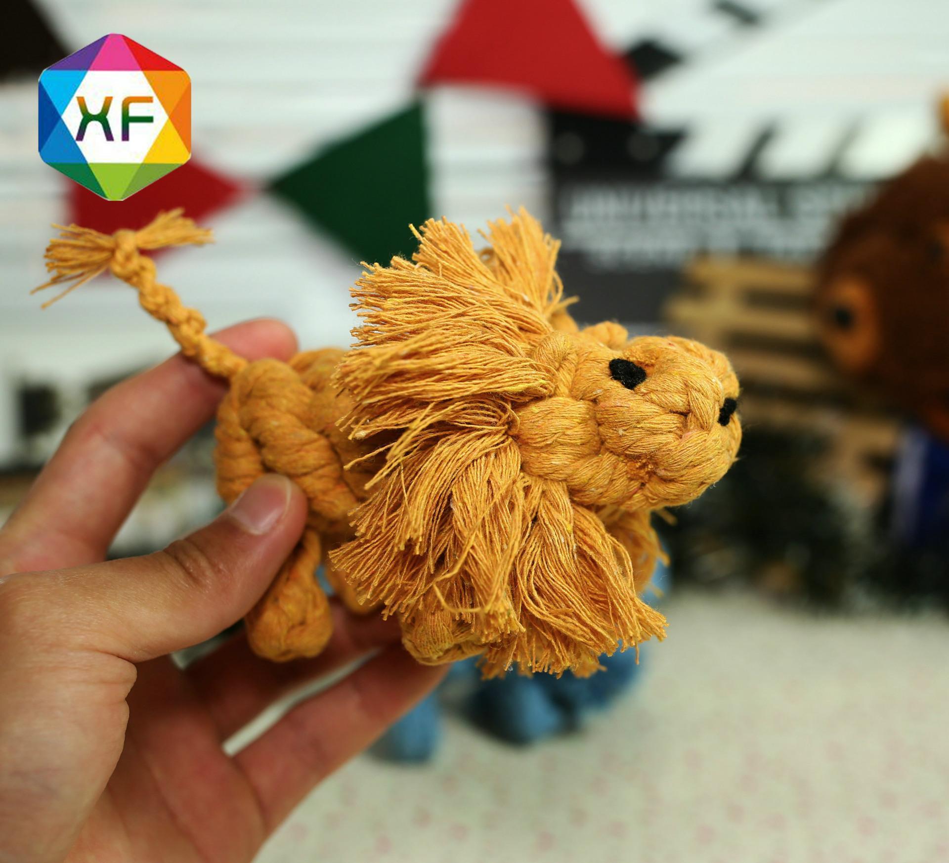好玩的编织动物 宠物玩具 纯手工编织 手工艺 可爱动物 狮子