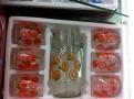 供应6+1套具彩盒碎花玻璃水杯套装玻璃器