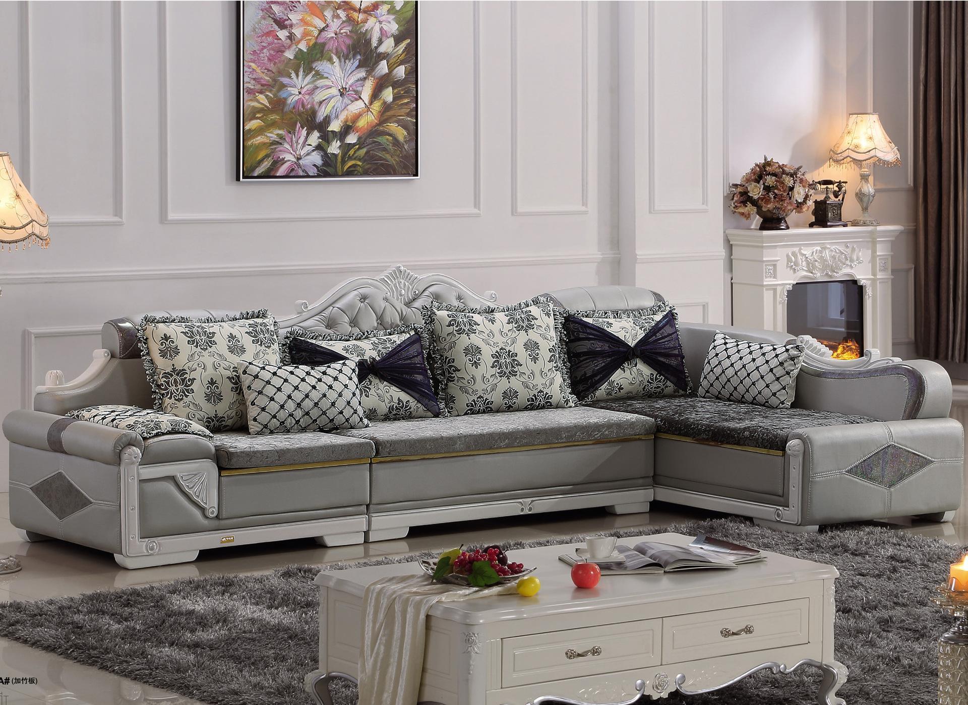 欧式客厅组合转角创意皮配布艺沙发 欧式家具 简欧布艺沙发 批发
