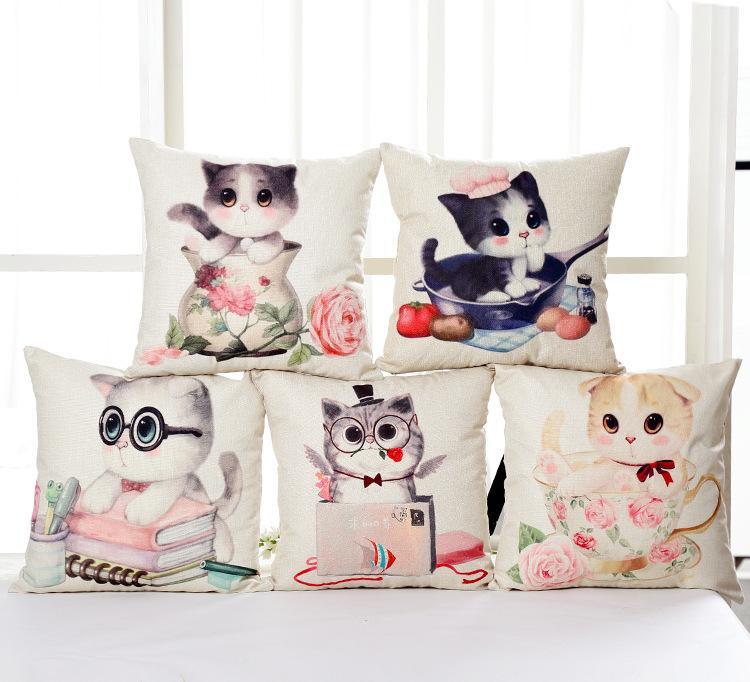 可爱卡通茶杯猫咪 北欧棉麻抱枕美式沙发靠垫办公午睡靠枕套批发图片