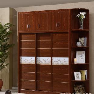 批发实木大衣柜北欧免漆生态板组装衣柜推拉门卧室家具衣柜厂直销