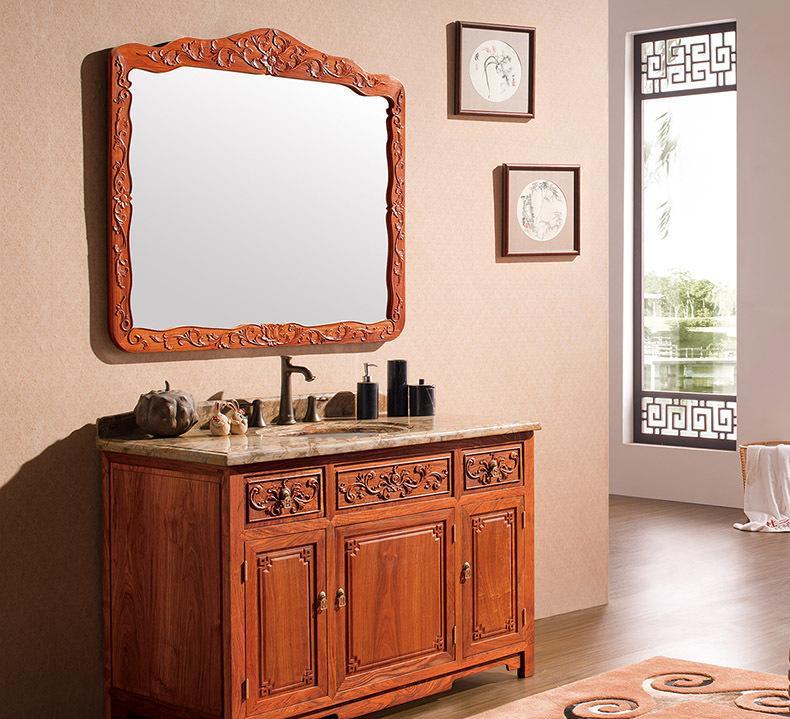佛山红木浴室柜 卫生间大理石洗脸盆组合 小户型仿古红木卫浴柜