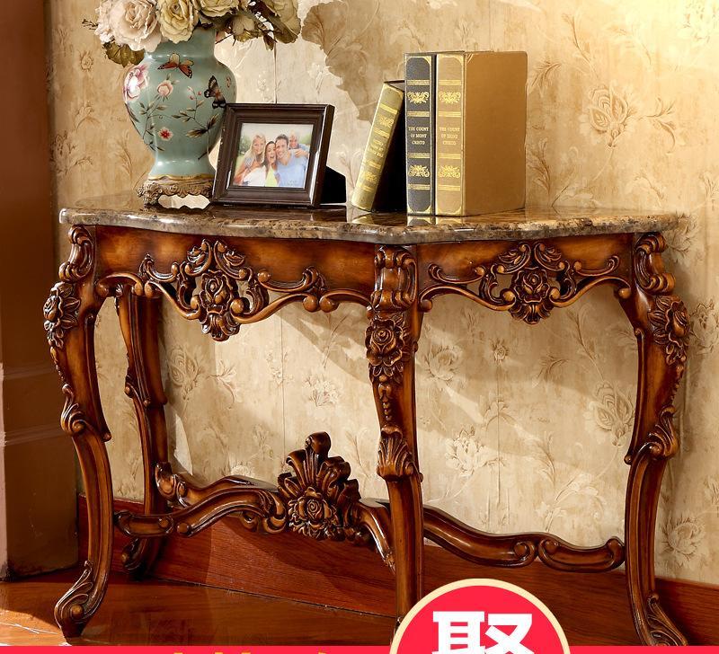 美式玄关桌 欧式实木大理石玄关台靠墙桌 半圆玄关台装饰桌