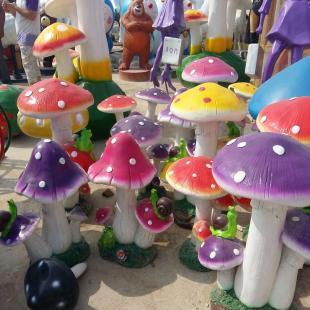 仿真大蘑菇雕塑大型玻璃钢雕塑 户外景观蘑菇摆件