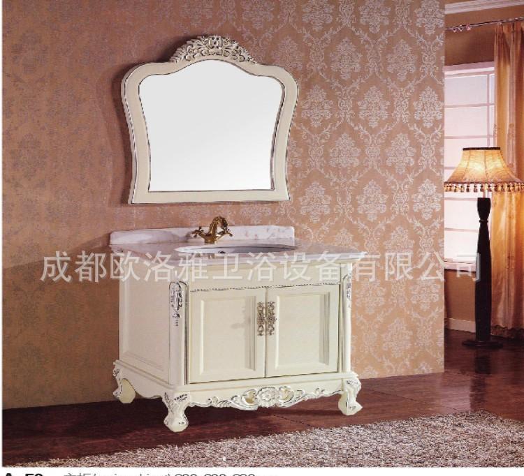 欧式浴室柜 仿古雕花实木柜 橡木描金 大理石洗面台a-02