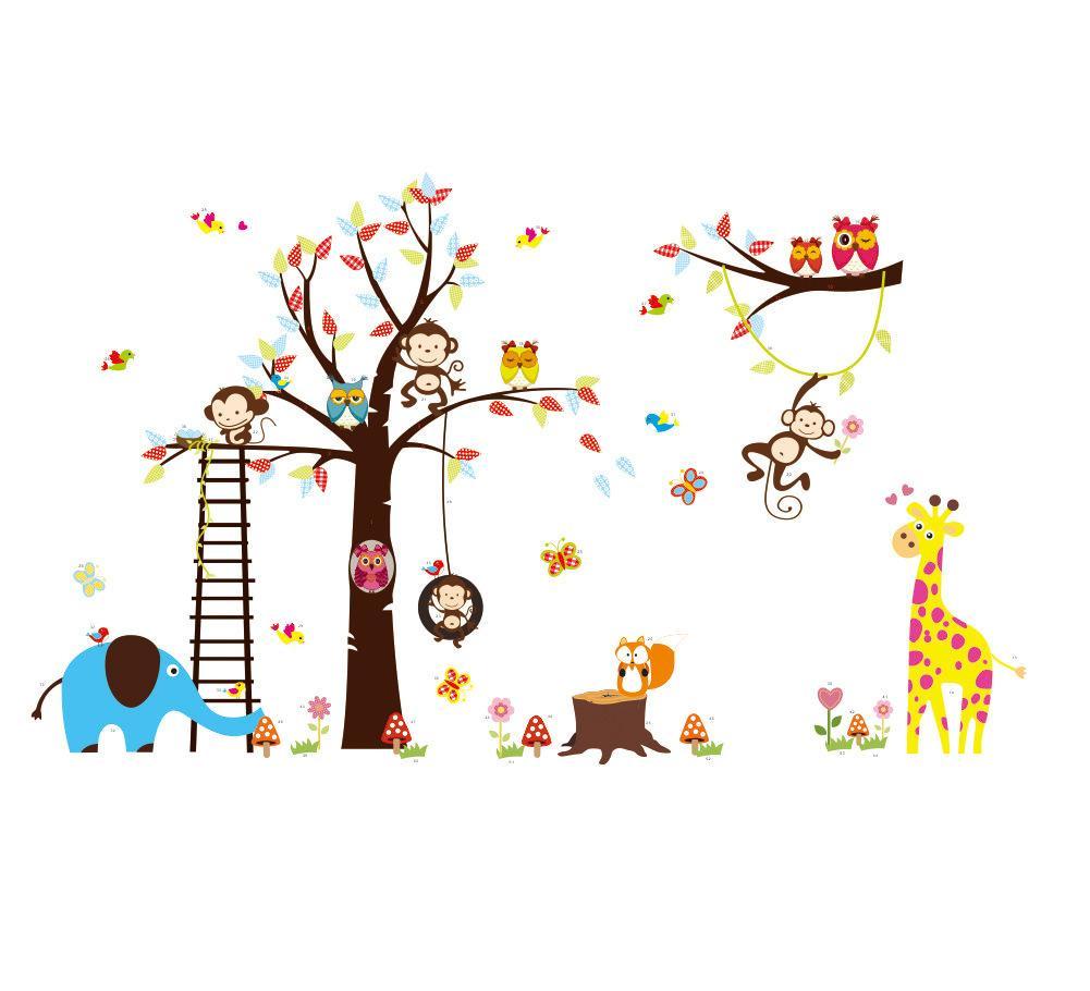 外贸爆款墙贴卡通猫头鹰猴子幼儿园狮子大象儿童房墙贴zy1213