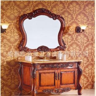 欧式浴室柜 雕花仿古柜红橡板材 大理石台面