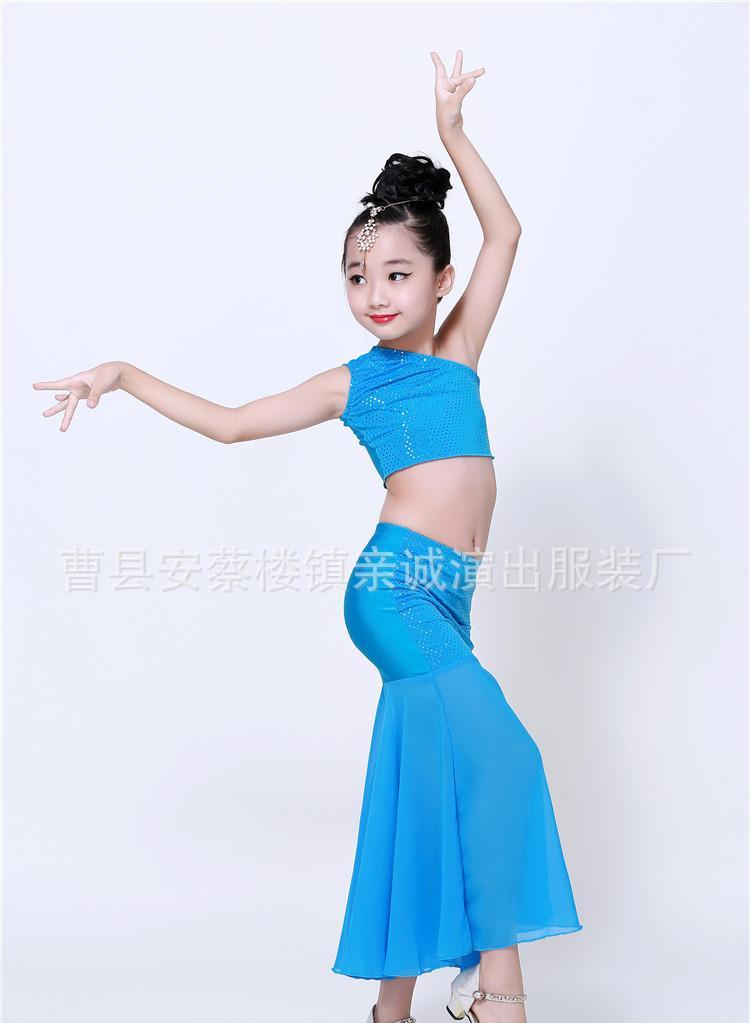 新款六一儿童舞蹈服弹力孔雀舞演出服装女童少儿傣族鱼尾裙演出服