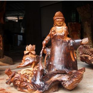 佛缘 批发木雕根雕工艺 半天然香樟弥观音 观世音菩萨摆件4455