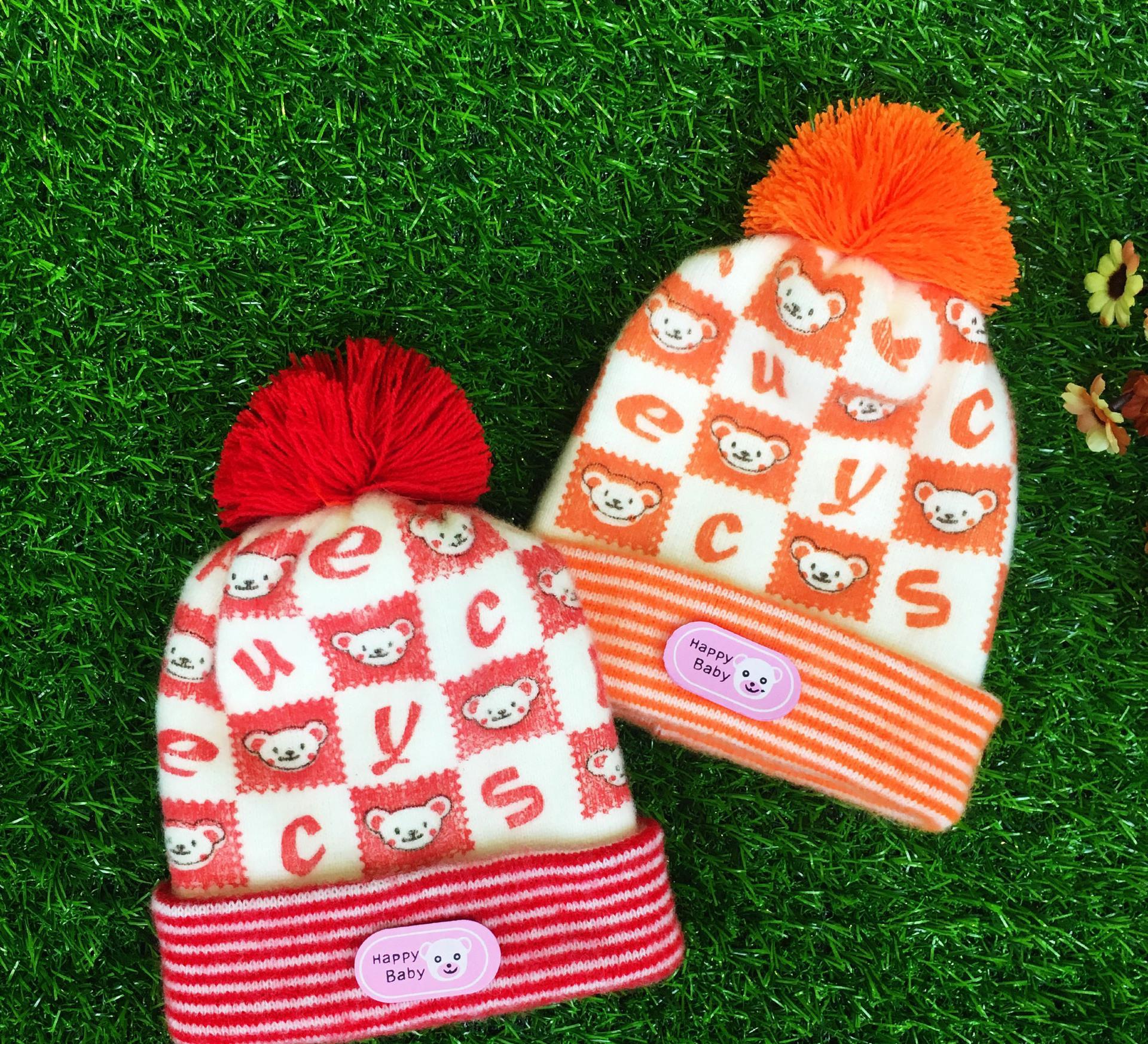 儿童帽子秋冬款潮男女宝宝 韩版卡通小猴加绒保暖护耳针织毛线帽图片