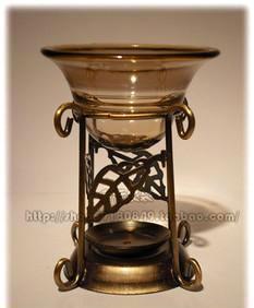 烛台香炉香薰灯送蜡烛精油 心叶烛台