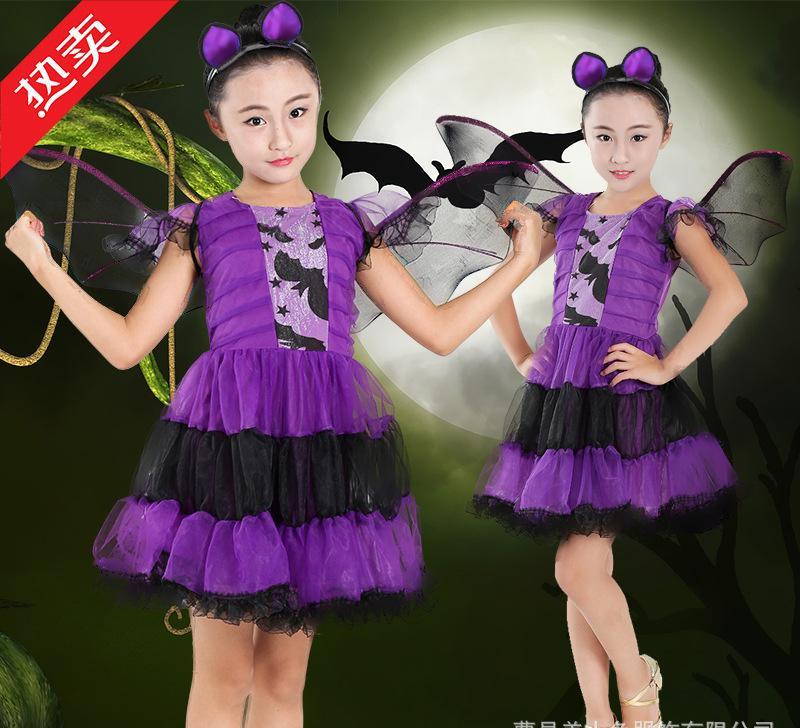 儿童演出服 蝙蝠卡通动物造型服装 万圣节舞蹈表演服 小蝙蝠服装