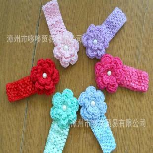 外贸原单 儿童发带 发饰头花环保纯手工制作宝宝发饰发带带珍珠