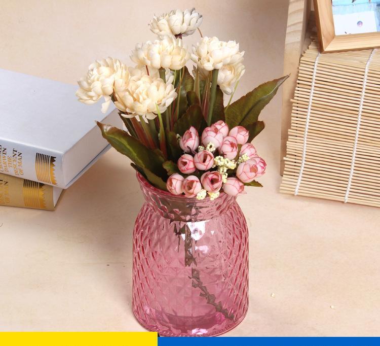 厂家直销创意彩色玻璃花瓶 家居透明玻璃插花摆件 绿萝水培花瓶
