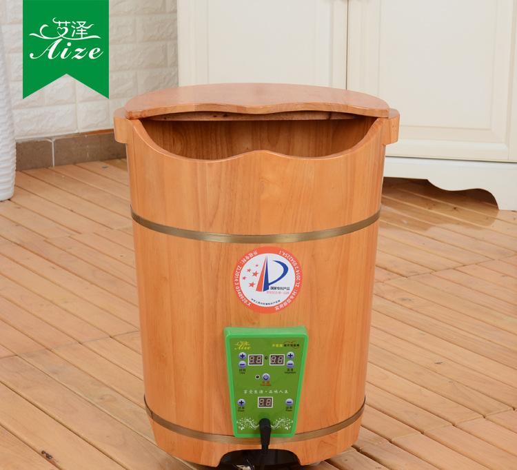艾泽泡脚木桶足浴桶加高电加热恒温洗脚盆木盆泡脚桶熏蒸橡木带盖