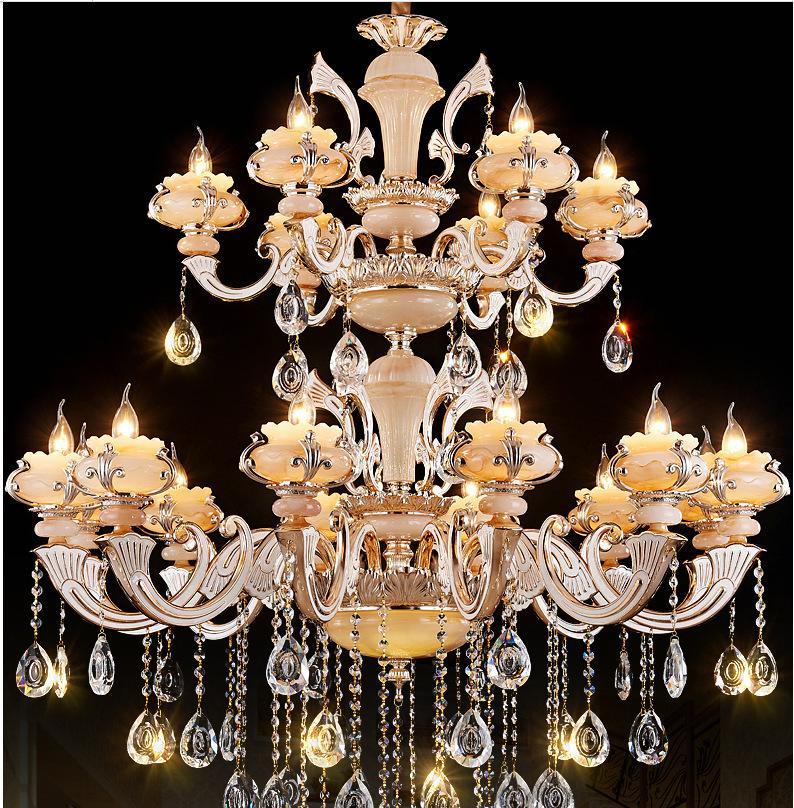 led欧式真双层吊灯蜡烛灯三层别墅灯水晶复式灯玉石灯金包玉扇形