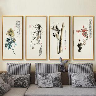 背景墙画 现代中式客厅装饰画有框画 花鸟梅兰竹菊组合画框壁画