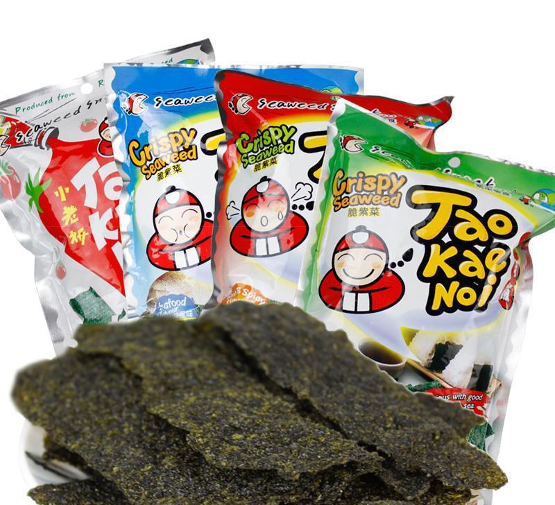 泰国进口休闲食品小老板海苔炸紫菜原味辣味海鲜袋装32g零食批发