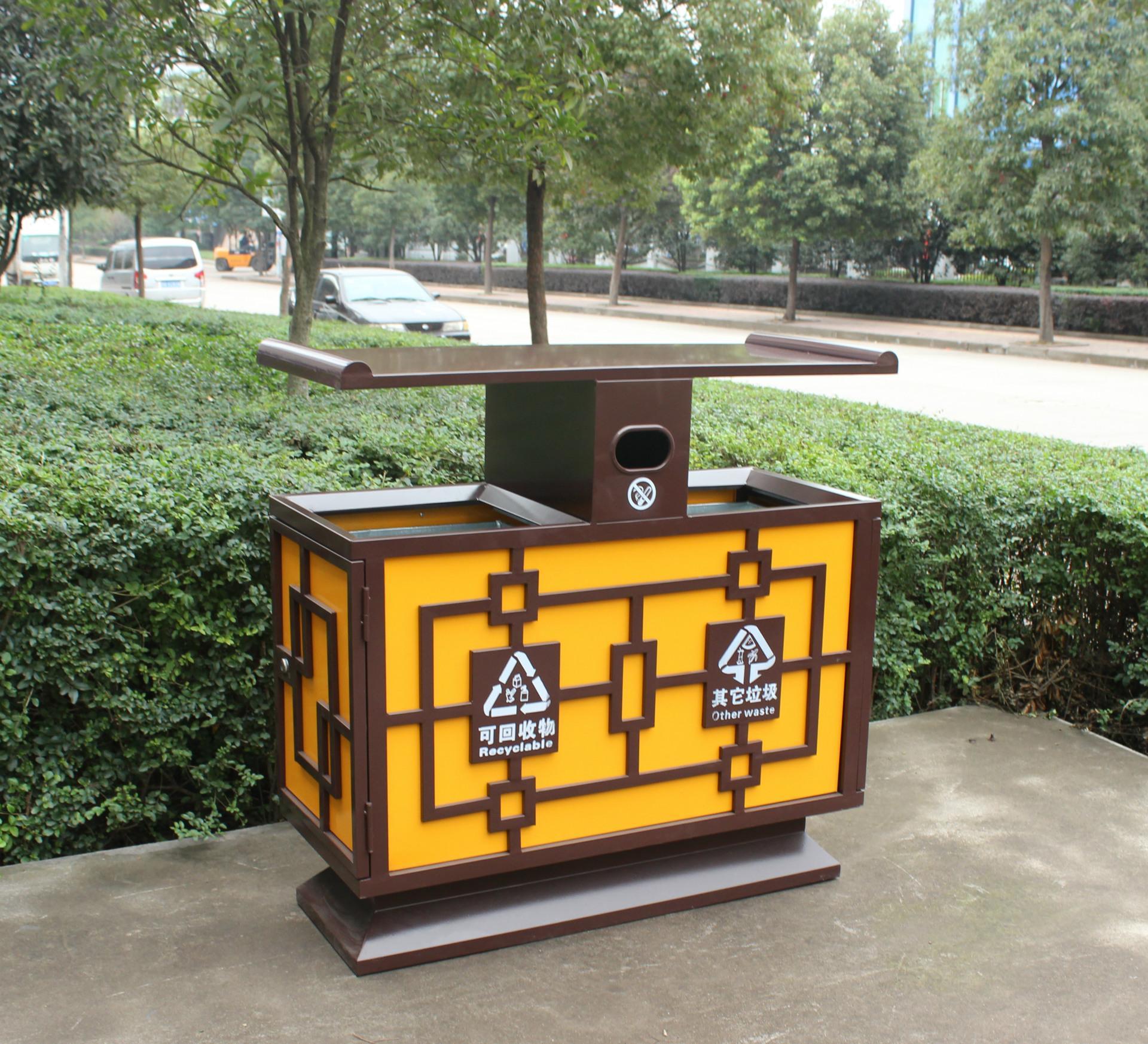 厂家直咖啡珀色室外方形钢板喷塑小区户外环卫垃圾桶镀锌图片