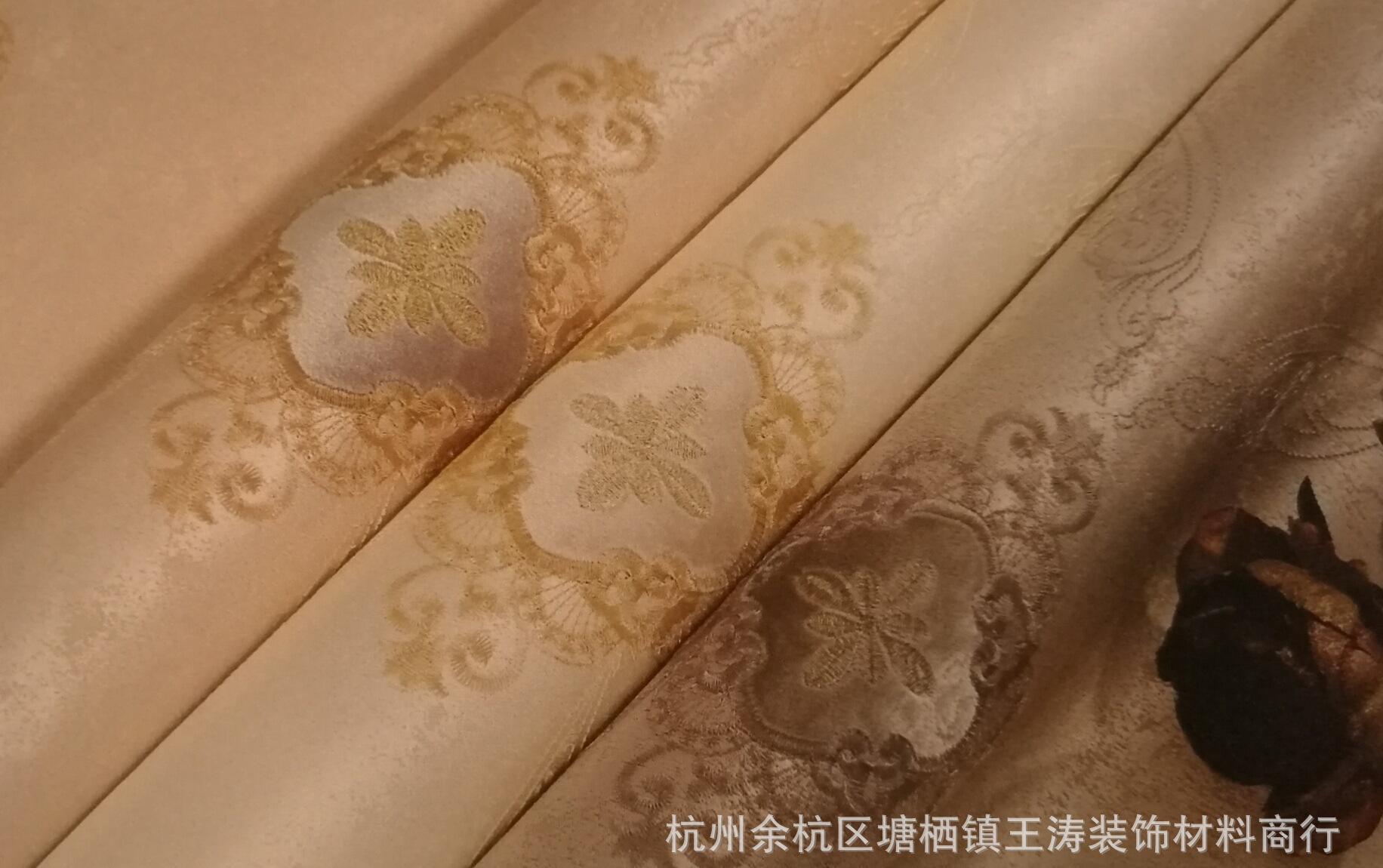 酒店家用主卧客厅简约田园欧式高端高精密刺绣无缝墙布