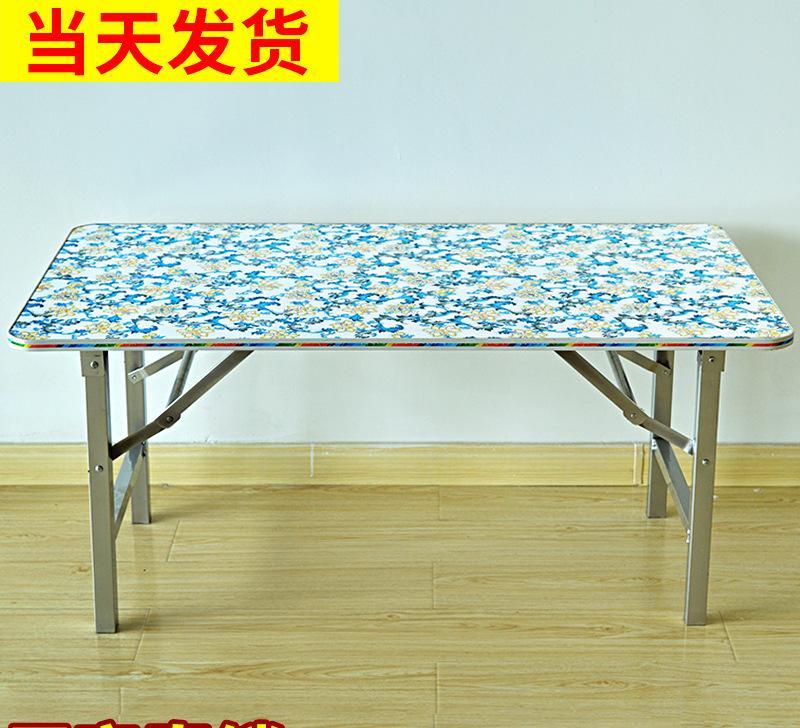 雪花色便携式桌子 手提式野餐桌 餐桌组合长方形实木手提桌图片