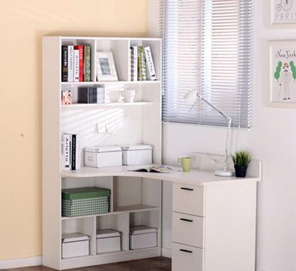 促销转角电脑桌 简约写字书桌书架组合 电脑桌带书柜一体