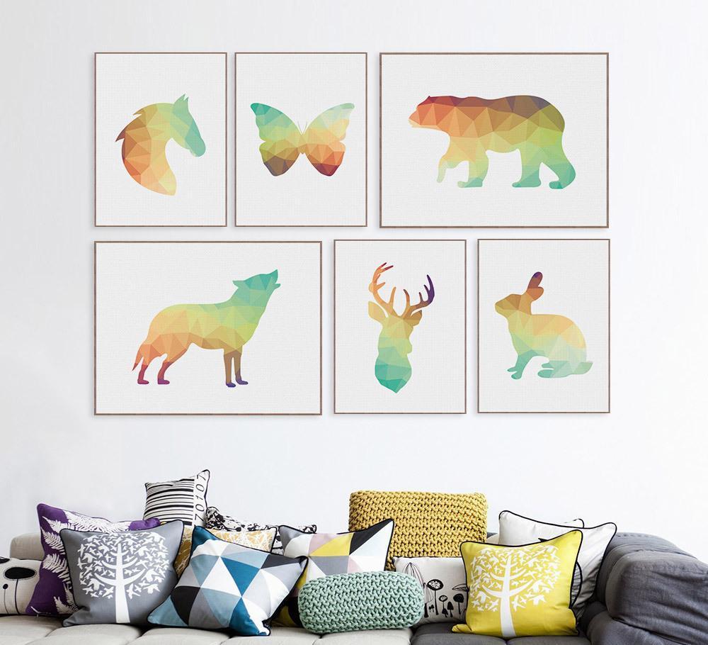 轻艺术相框画芯定制现代抽象立体动物大象狮子马装饰布画海报批发