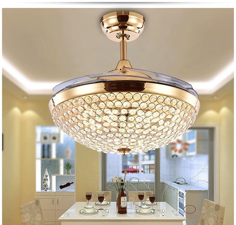 欧式水晶吊灯带隐形风扇灯吊扇灯电灯风扇现代电扇灯餐厅客厅卧室