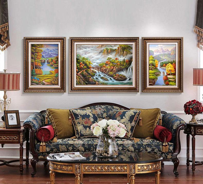 厂家直销发财鹿玄关装饰画客厅装饰挂画欧式油画