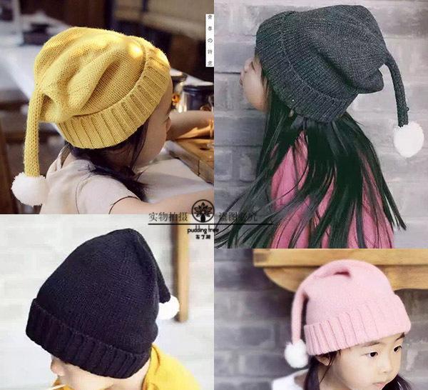 ht-1734 长辫子白球儿童毛线帽男女宝宝幼儿精灵帽子冬款