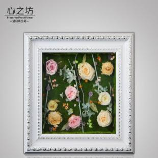 进口永生花玫瑰花相框实木画框现代装饰挂画定制