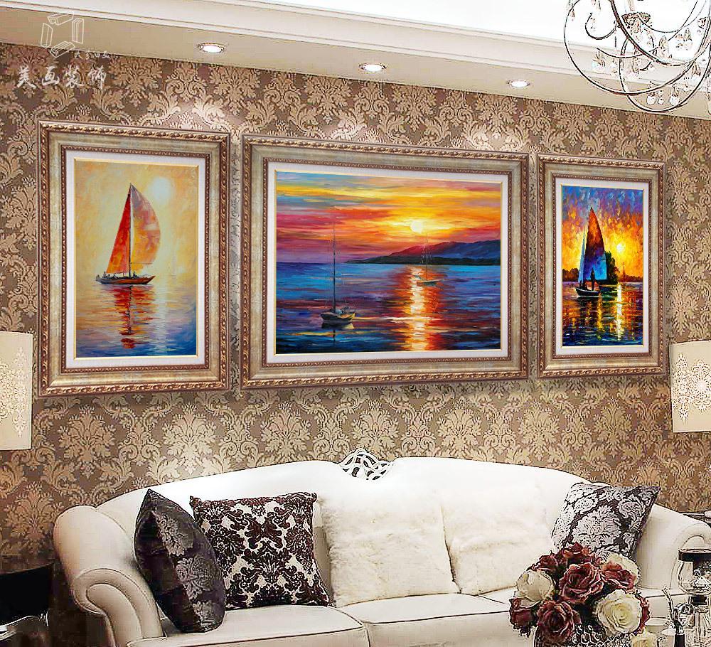 工厂直销梵高油画欧式客厅装饰画三联画沙发背景墙画餐厅玄关挂画图片