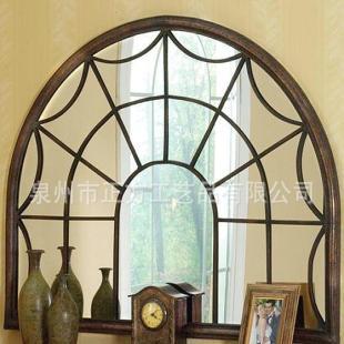 正方铁艺欧式假窗客厅拱门半圆形床头壁饰壁景玄关镜