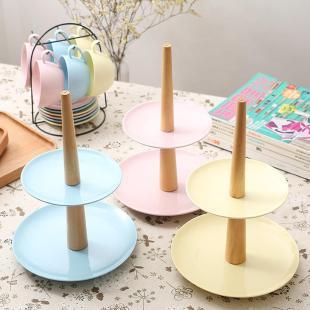 新品欧式水果点心盘双层彩泥碟蛋糕创意客厅展示餐盘下午茶必备品